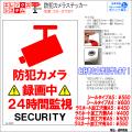 防犯カメラステッカー|シール・ラミネートタイプ|お名前・お会社名印字可|A4・A5サイズ|24時間監視・作動中|ES-ST03T