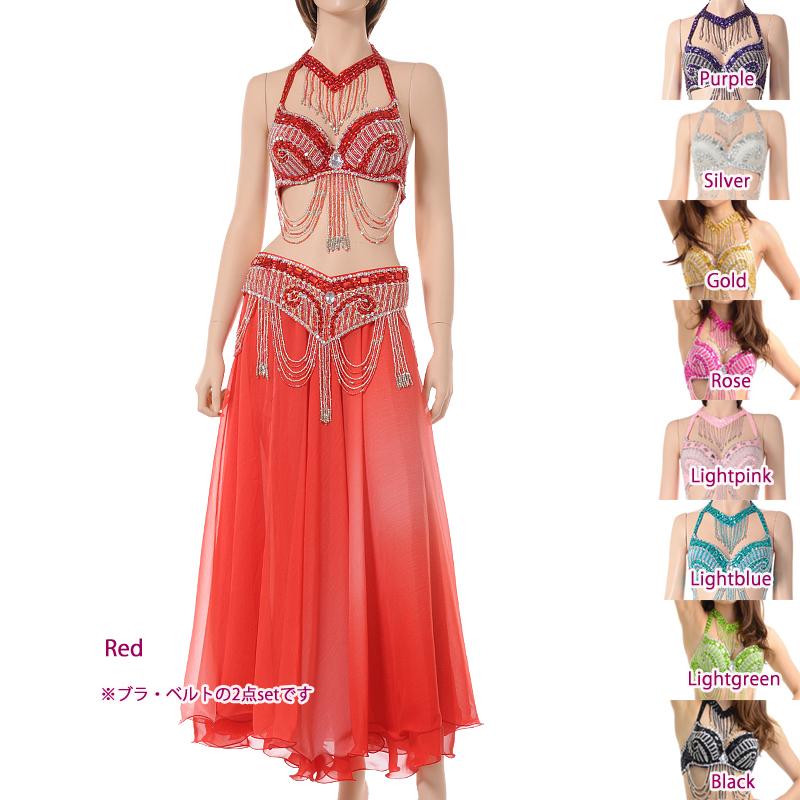 ベリーダンス衣装コスチュームCOSB-A24(ブラ、ベルト2点セット)(9colors)【宅配便送料無料】