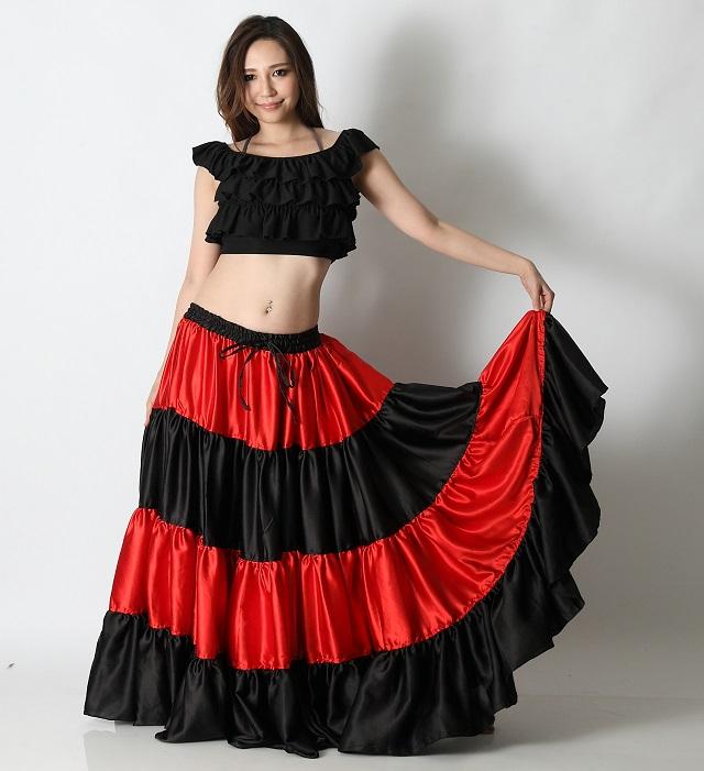 25ヤードスカートD25Lフラメンコフュージョン(black&red)