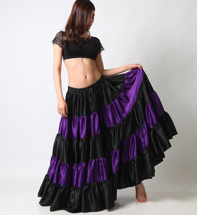 25ヤードスカートD25Lフラメンコフュージョン(black&purple)【宅配便送料無料】