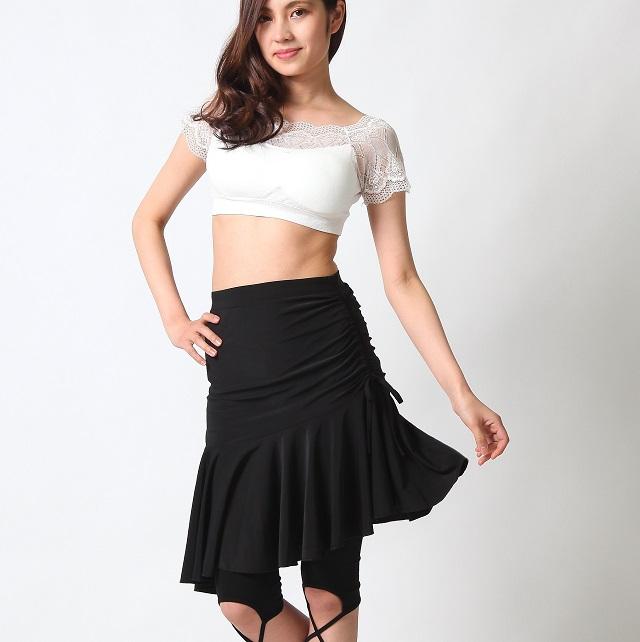 ベリーダンスレッスン用スカートSK70-1サイドシャーリング(4202)(black)【ネコポス便送料無料】