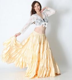 25ヤードスカートD25Sサテン単色(クリーム)