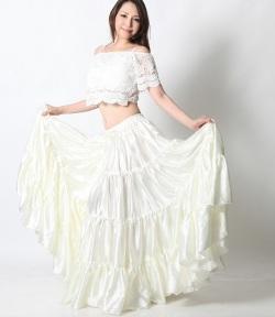【訳あり品】25ヤードスカートD25Sサテン単色(white)