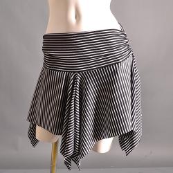 ストライプオーバースカートSK1(ブラック)【ネコポス便送料無料】