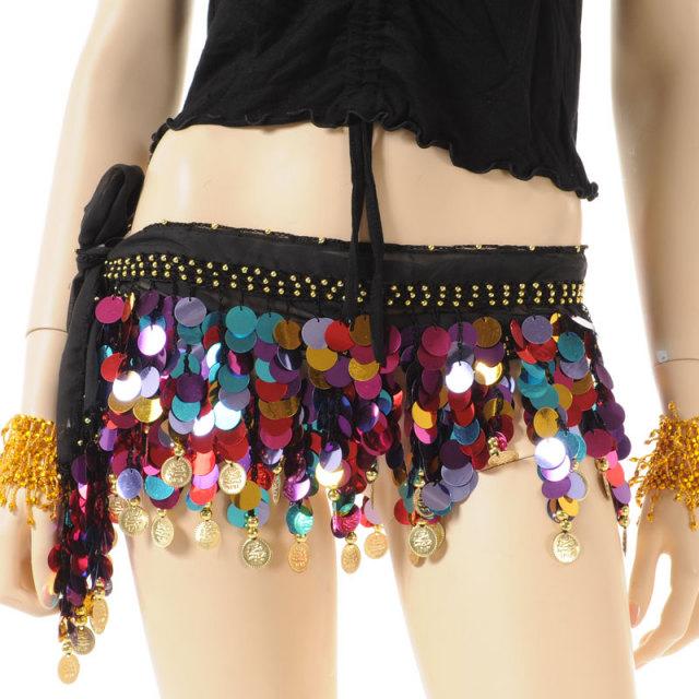 ベリーダンス衣装☆ヒップスカーフA12☆超かわいい!スパンコール付き