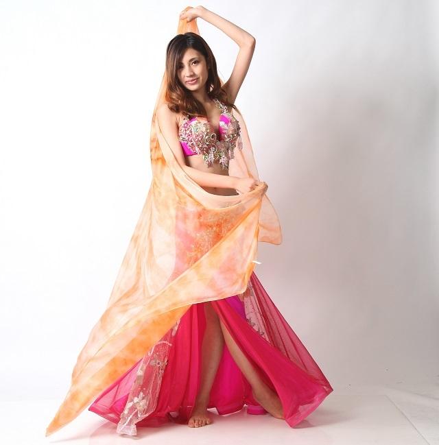シフォンベール240cm*130cmベリーダンス用B6-2F(オレンジ)【ネコポス便送料無料】