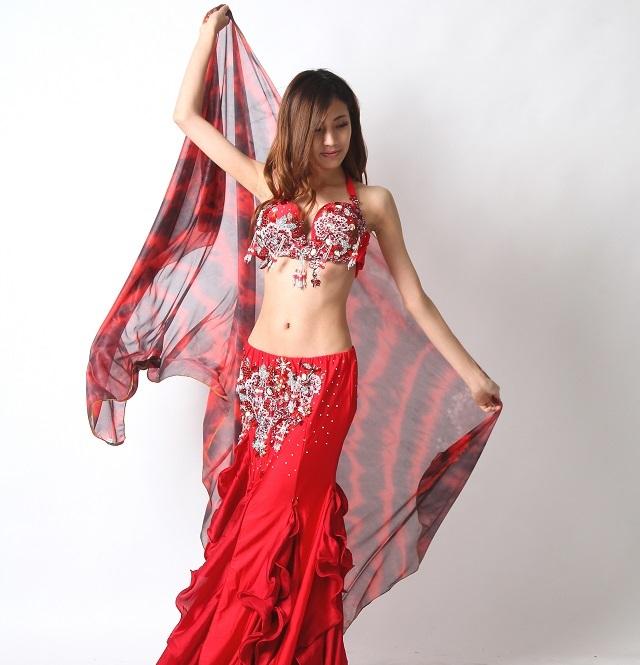 シフォンベール240cm*130cmベリーダンス用B6-4E(レッド)【ネコポス便送料無料】
