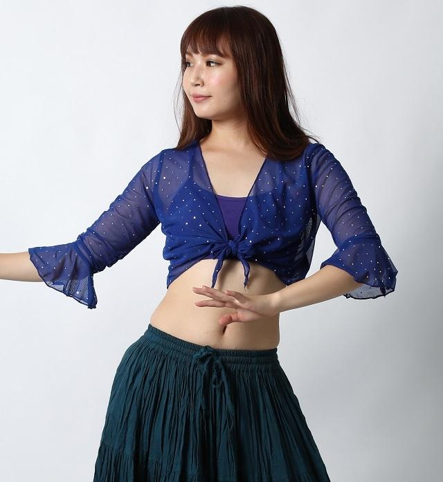 ダンストップス水玉レースボレロC28(ロイヤルブルー)【ネコポス便送料無料】