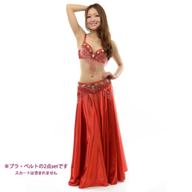 ベリーダンス衣装コスチュームCOSB-A1-2ブラ&ベルト2点セット(レッド)【宅配便送料無料】