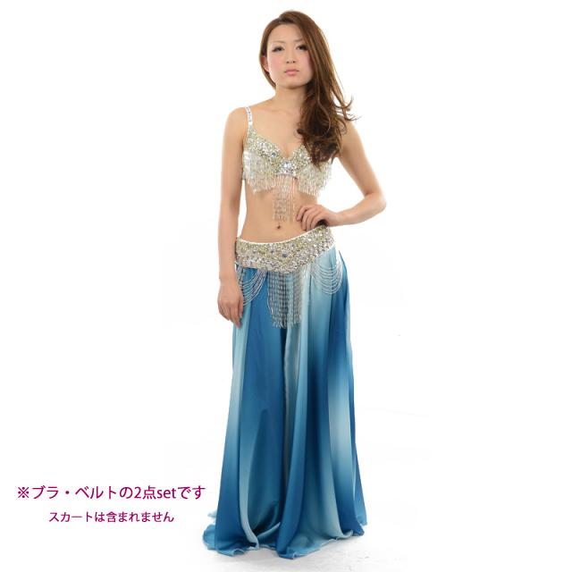 ベリーダンス衣装コスチュームCOSB-A1-6ブラ&ベルト2点セット(シルバー)【宅配便送料無料】