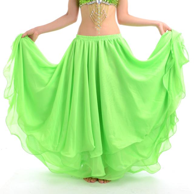 ベリーダンス衣装スカート10ヤード3段シフォンD11(ライトグリーン)【宅配便送料無料】