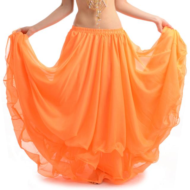ベリーダンス衣装スカート10ヤード3段シフォンD11(オレンジ)【宅配便送料無料】