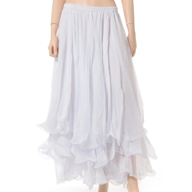 ベリーダンス衣装スカート10ヤード3段シフォンD11(ホワイト)【宅配便送料無料】