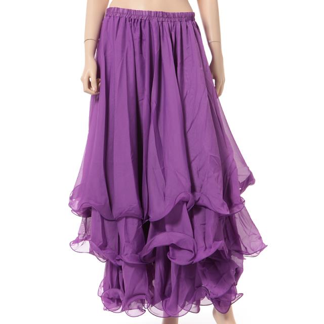 ベリーダンス衣装スカート10ヤード3段シフォンD11(パープル)【宅配便送料無料】