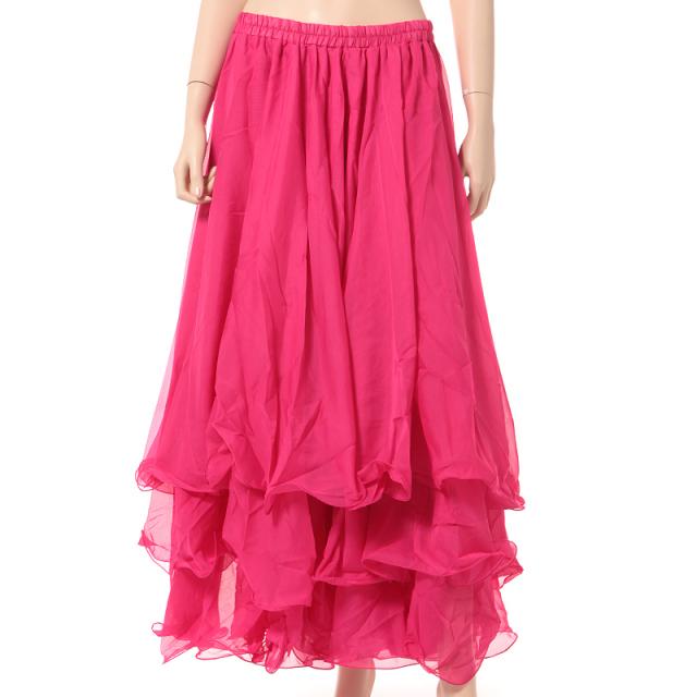 ベリーダンス衣装スカート10ヤード3段シフォンD11(ローズ)【宅配便送料無料】