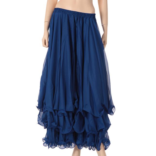 ベリーダンス衣装スカート10ヤード3段シフォンD11(ブルー)【宅配便送料無料】