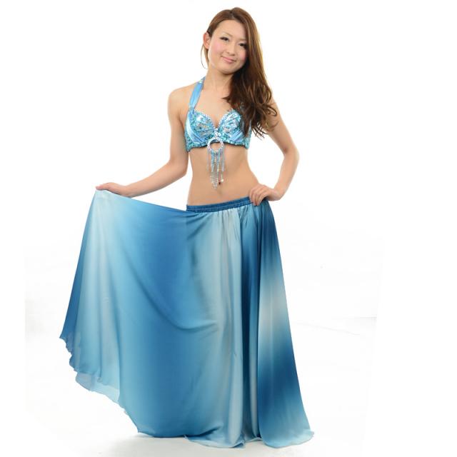 ベリーダンス用サテングラデーションスカートD14(ライトブルー)【ネコポス便送料無料】