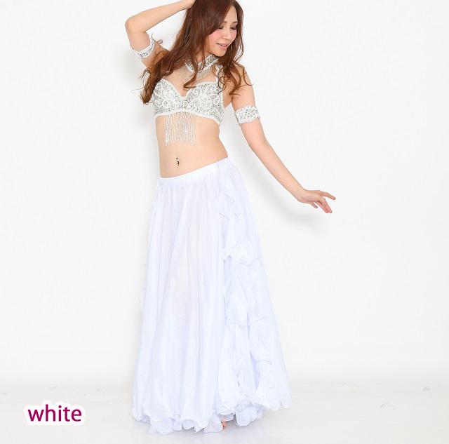 【訳あり品】ベリーダンススカートD29サイドフリル(ホワイト)【宅配便送料無料】
