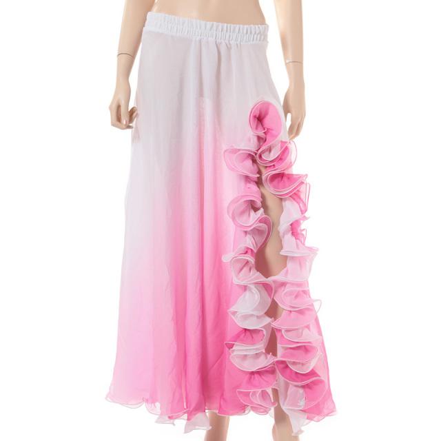 ベリーダンス衣装グラデーションンスカートD9-51(ホワイト×ピンク)【宅配便送料無料】