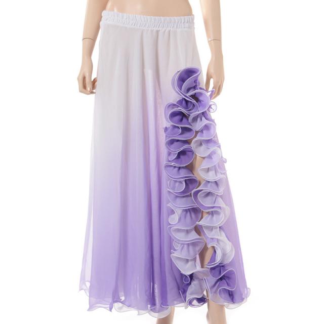 ベリーダンス衣装グラデーションンスカートD9-52(ホワイト×パープル)【宅配便送料無料】