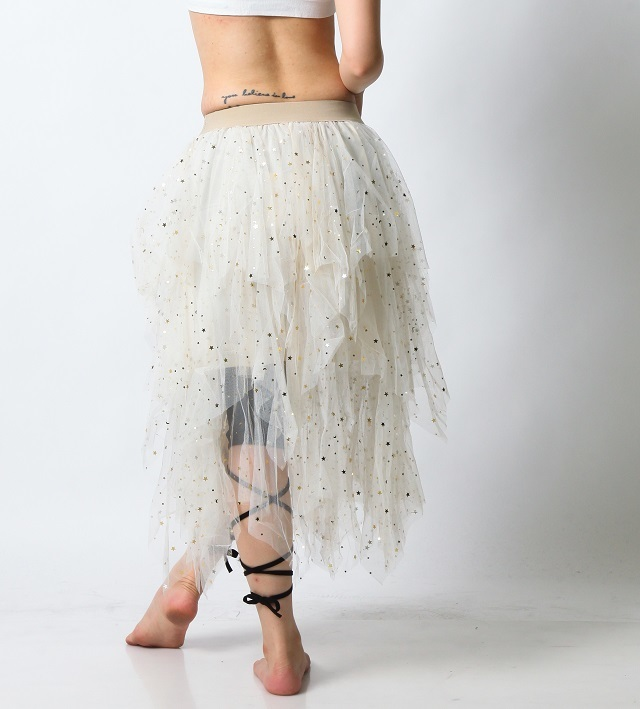 ダンススカートSK71-1ふんわりランダムカット(ベージュ)【宅配便送料無料】