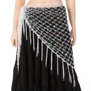 ベリーダンス☆カギ編みヒップスカーフA10☆大人の女性にぴったり(ホワイト)【メール便送料無料】