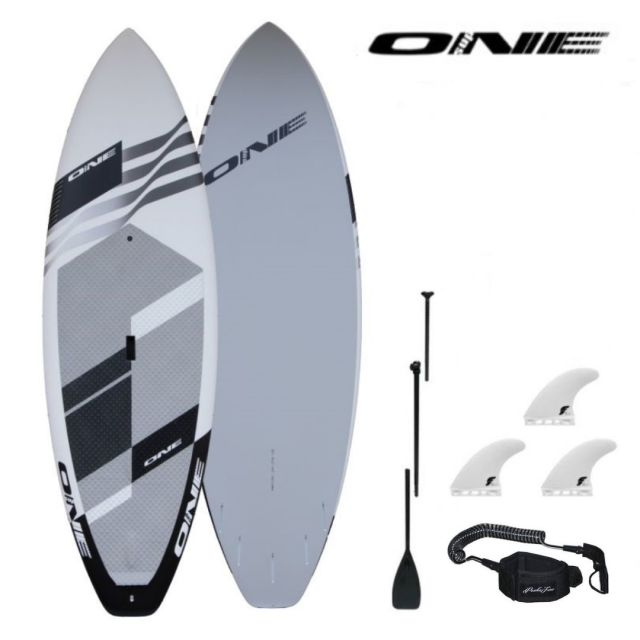 "20%OFF 【ONE ワン】 ONE SUP SURF 8'5"" × 31"" WHITE 118.2L アルミパドル・リーシュコード・フィンセット"