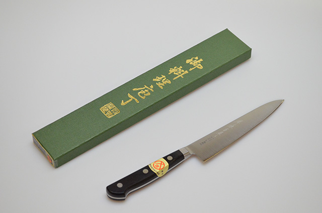 【ダイキチ】堺源吉作 口金付きV10 モリブデン鋼 ペティナイフ 150mm