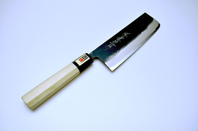 【藤井刃物製作所】黒打菜切包丁 白二鋼 水牛柄 170mm