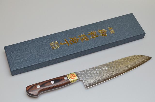 【山脇刃物製作所】鍛造ダマスカス 三徳包丁 180mm