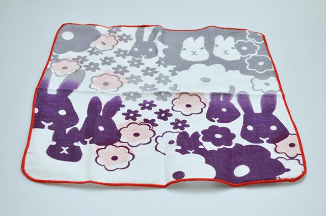【左海壺人】ダブルガーゼハンカチ お花とうさぎ