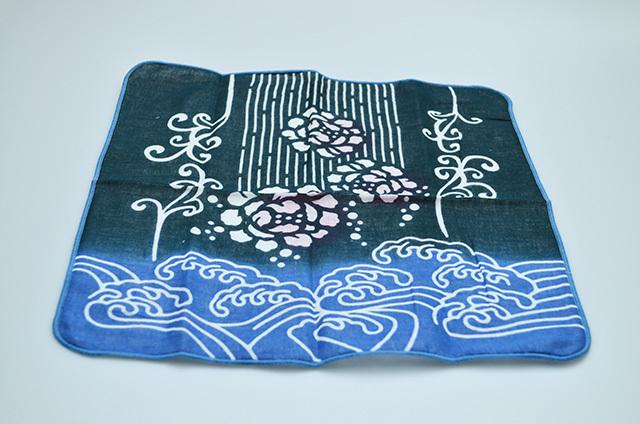 【左海壺人】ダブルガーゼハンカチ 波と花