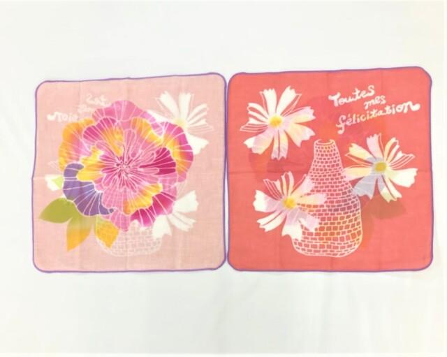 【左海壺人】ダブルガーゼハンカチ 大輪の花