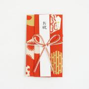 【にじゆら】祝儀袋(花結び)寿文様赤