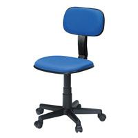 事務イスC605 BL ブルー 肘なし 布張りタイプ 「組立有料サービス付」