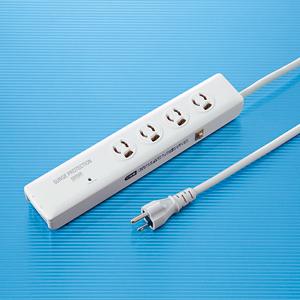 サンワサプライ TAP-SPTEL4N 高性能雷ガードタップ(3P抜け止め・4個口・2m)