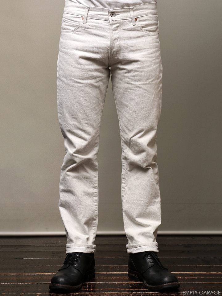 STEVENSON OVERALL CO. La Jolla - 727 SLIM FIT TAPERED LEG Off White