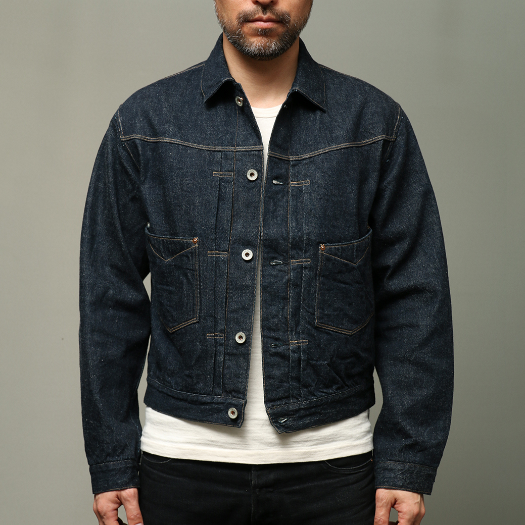 STEVENSON OVERALL CO. Saddle Horn Type II - 102 FRONT PLEATED WORK JACKET Indigo Denim