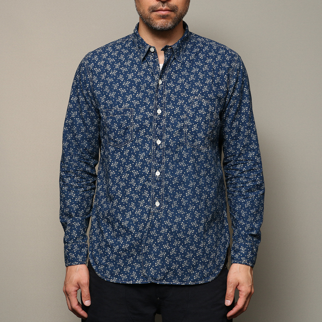 STEVENSON OVERALL CO. Railloader - RL WORK SHIRT Indigo Discharge Printed Chambray