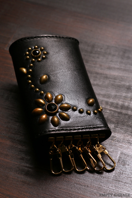 HTC Leather Key Case Flower gold black