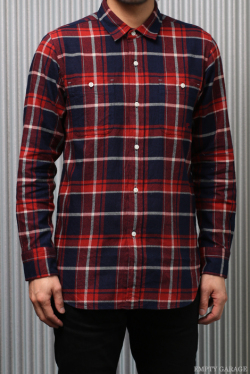 FK-LIGHT WEIGHT インディゴ染め LONG FLANEL SHIRT Red