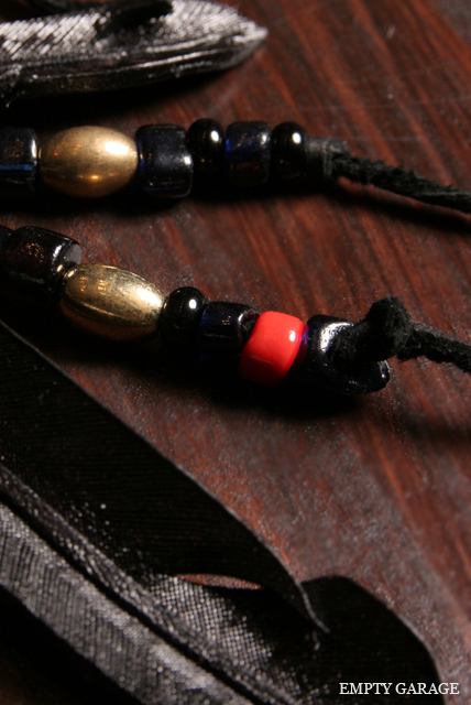 "Rooster King & Co. Carved Leather feather Necklace ""Antique Venetian Beads Custom"" Black"