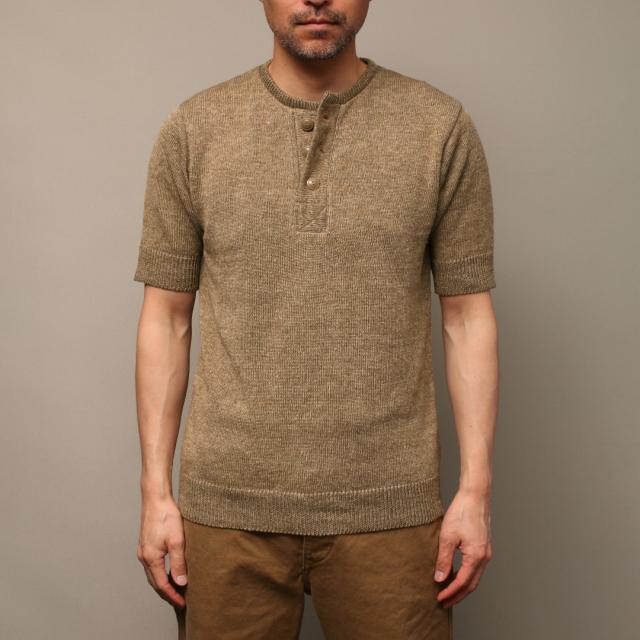 STEVENSON OVERALL Co. (麻) Linen Blended Knit Henley - KH