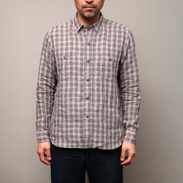 STEVENSON OVERALL Co. Unionist - UI3 WORK SHIRT Plaid Linen Beige