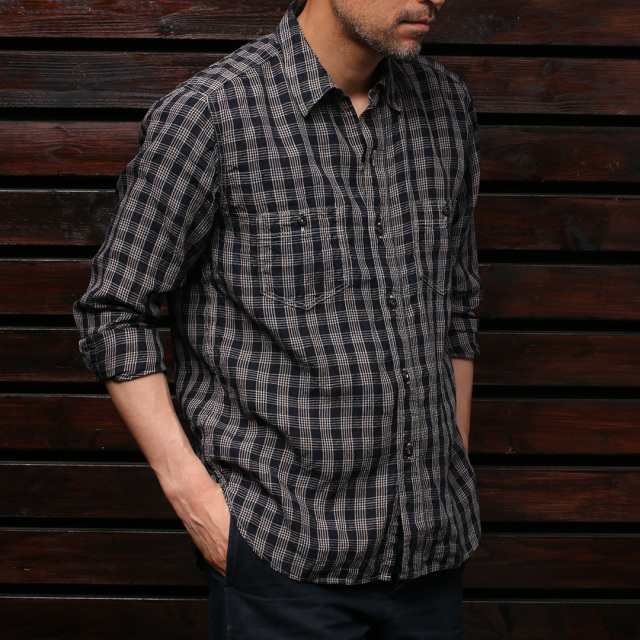 STEVENSON OVERALL Co. Unionist - UI3 WORK SHIRT Plaid Linen Navy