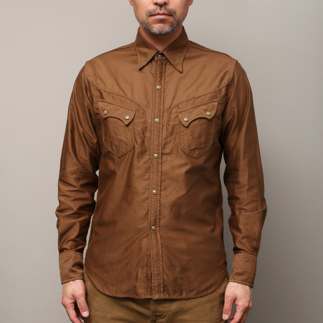 STEVENSON OVERALL Co. Cody CD2 WESTERN SHIRT Olive Brown Light Moleskin ウエスタンシャツ