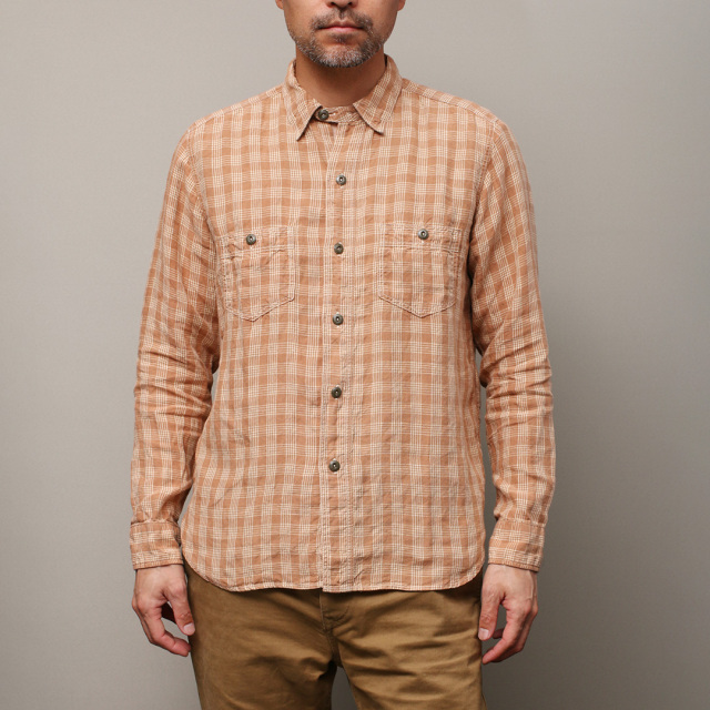 STEVENSON OVERALL Co. Unionist - UI3 WORK SHIRT Plaid (麻) Linen Brown リネン・ワークシャツ