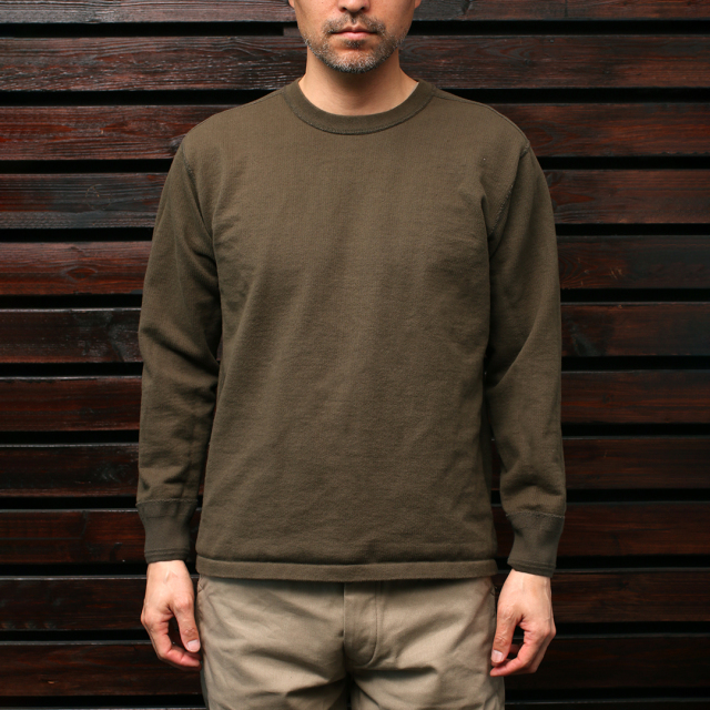 STEVENSON OVERALL Co. Cotton Crewneck Thermal - CT サーマルシャツ オリーブ