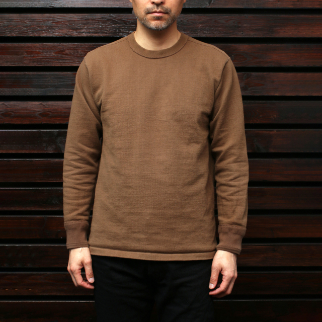 STEVENSON OVERALL Co. Cotton Crewneck Thermal - CT サーマルシャツ ブラウン
