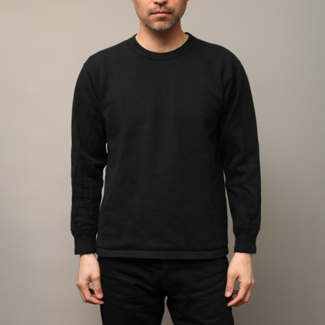 STEVENSON OVERALL Co. Cotton Crewneck Thermal - CT サーマルシャツ ブラック